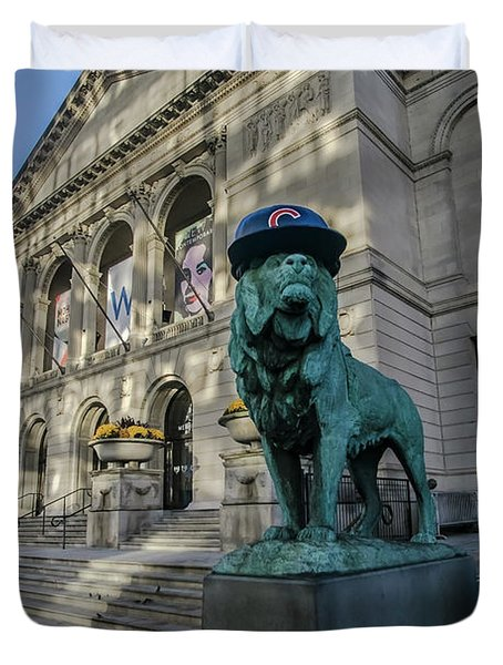 Chicago's Art Institute With Cubs Hat Duvet Cover