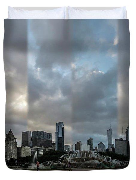 Chicago's Buckingham Fountain Time Slice Photo Duvet Cover