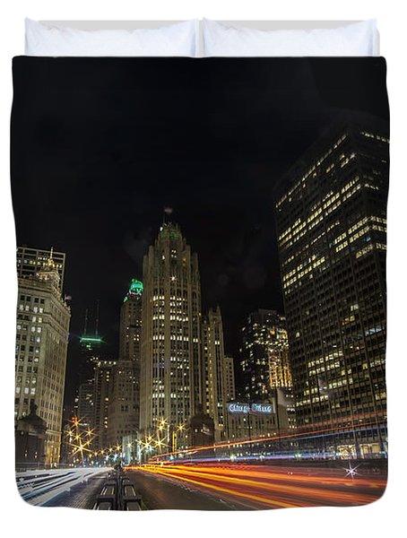 Chicago's Mag Mile Night Streaks Duvet Cover