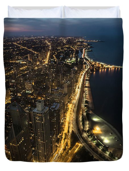 Chicago's North Side From Above At Night  Duvet Cover