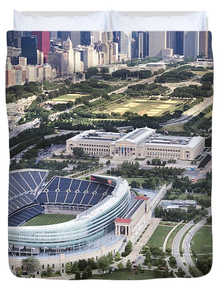 Duvet Cover featuring the photograph Chicago's Soldier Field by Adam Romanowicz