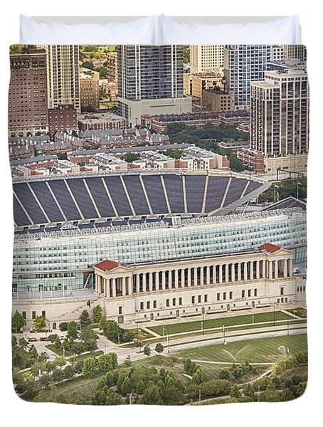 Duvet Cover featuring the photograph Chicago's Soldier Field Aerial by Adam Romanowicz