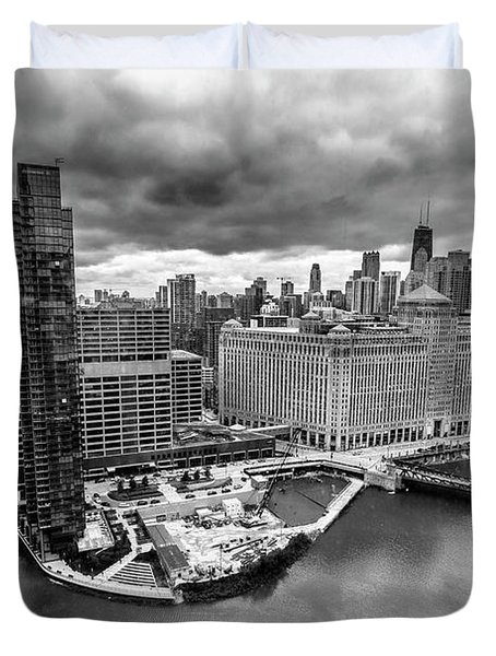 Chicago's Wolf Point From The 27th Floor Duvet Cover
