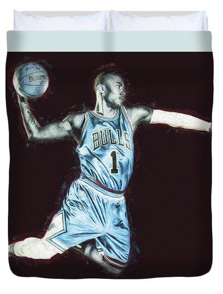 Chicao Bulls Derrick Rose Painted Digitally Blue Duvet Cover