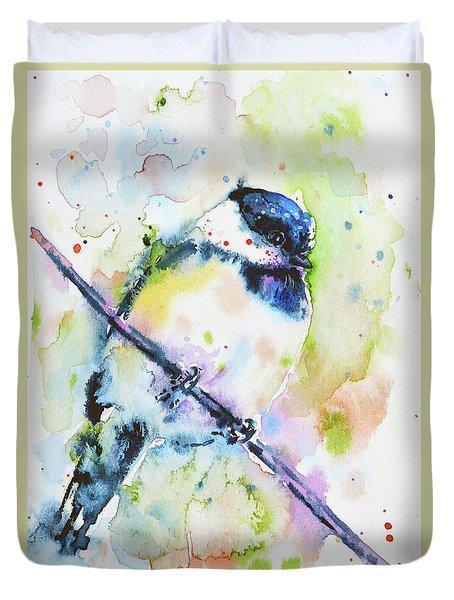 Duvet Cover featuring the painting Chick-a-dee-dee-dee by Zaira Dzhaubaeva