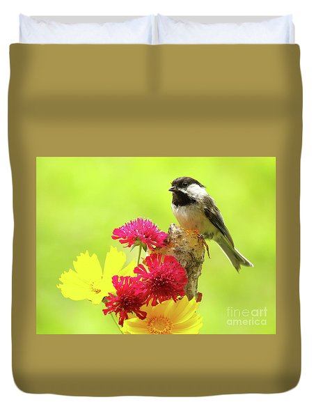Chickadee Among Bright Flowers Duvet Cover