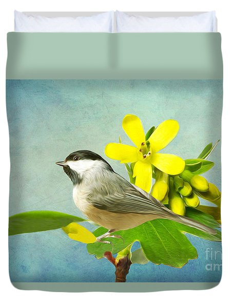 Chickadee And Flowers Duvet Cover