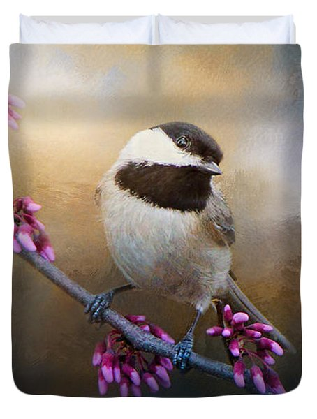 Chickadee And Pink Blooms Duvet Cover