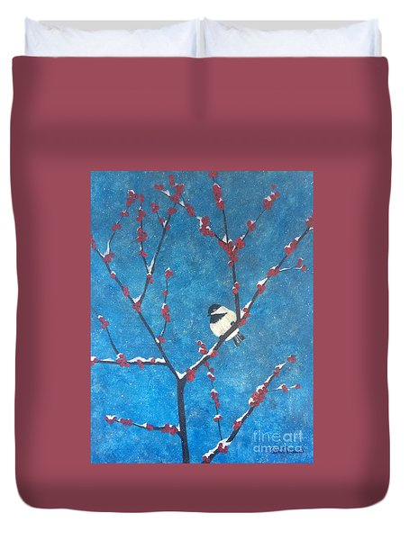 Duvet Cover featuring the painting Chickadee Bird by Denise Tomasura