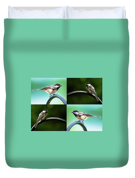 Duvet Cover featuring the photograph Chickadee Duo Composite by Onyonet  Photo Studios