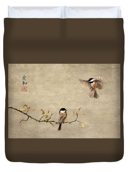 Chickadee Encounter II Duvet Cover