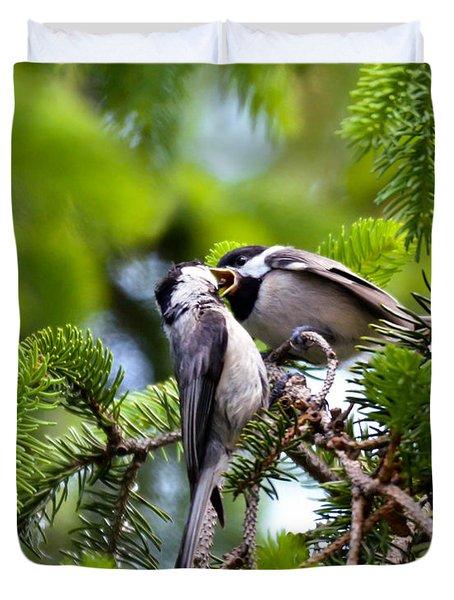 Chickadee Feeding Time Duvet Cover