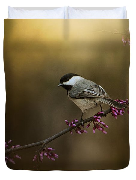 Chickadee In The Golden Light Duvet Cover