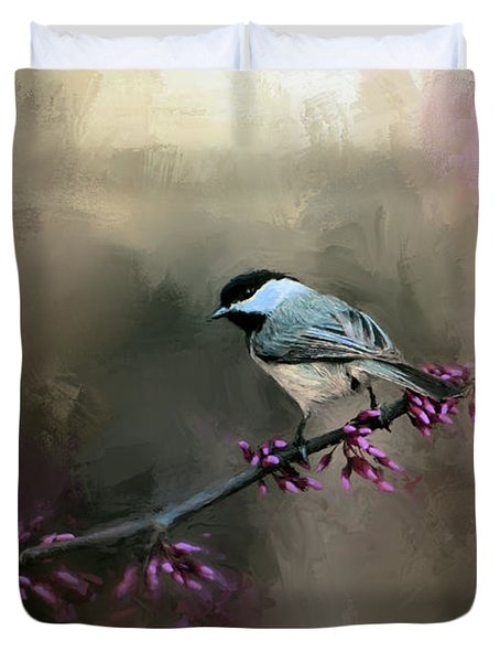 Chickadee In The Light Duvet Cover