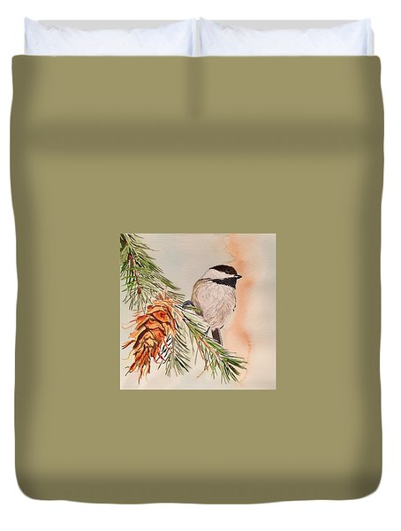 Chickadee In The Pine Duvet Cover