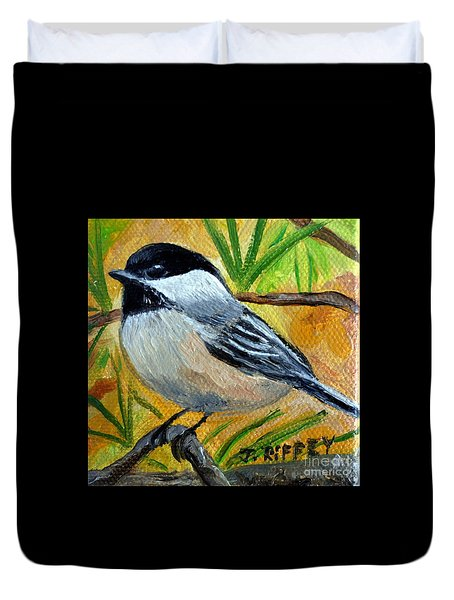 Chickadee In The Pines - Birds Duvet Cover