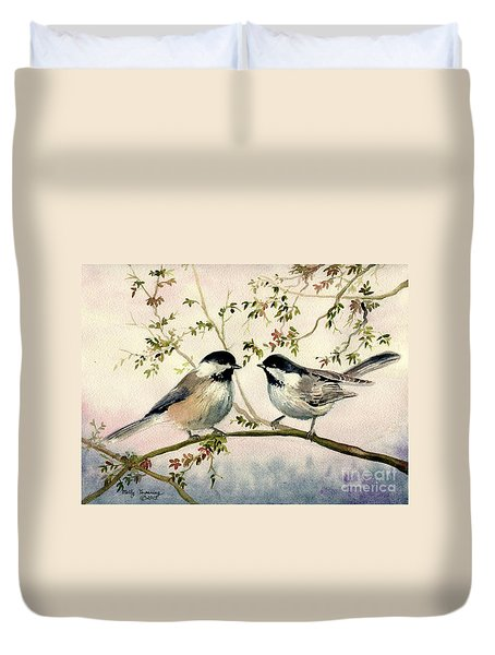 Chickadee Love Duvet Cover