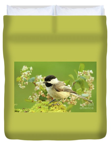 Chickadee Mossy Spring Perch Duvet Cover