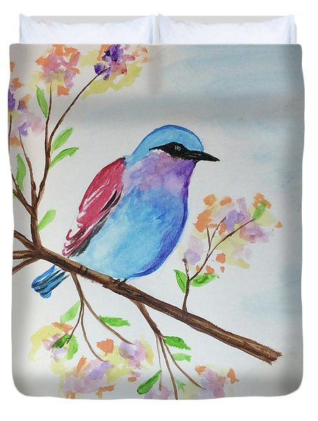 Chickadee On A Branch Duvet Cover