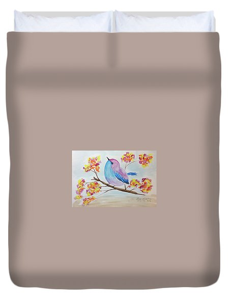 Chickadee On A Branch With Head Up Duvet Cover