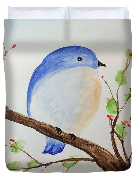 Chickadee On A Branch With Leaves Duvet Cover