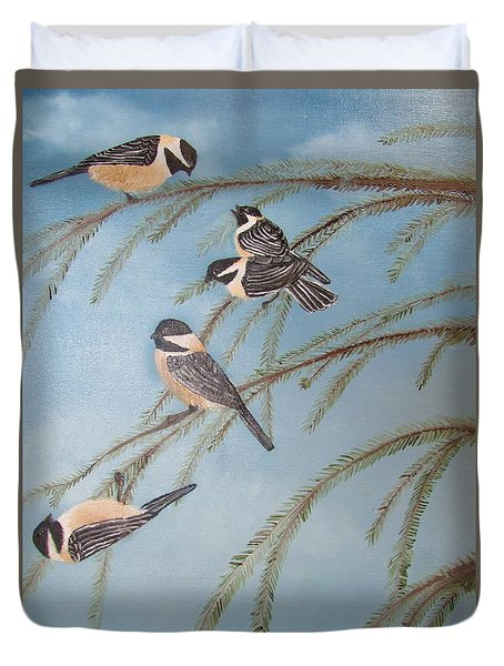 Chickadee Party Duvet Cover