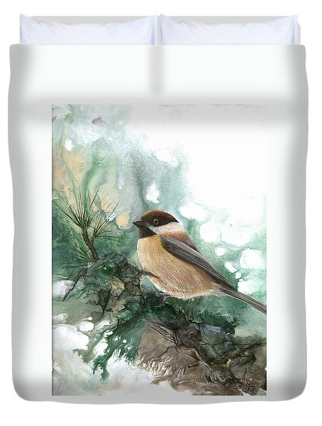 Duvet Cover featuring the painting Chickadee by Sherry Shipley