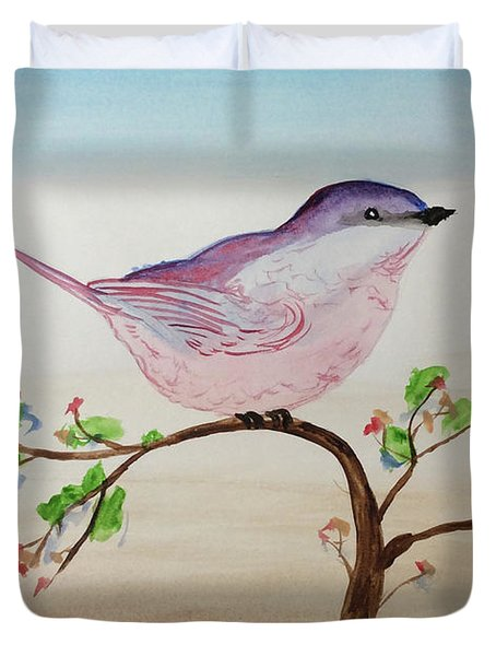 Chickadee Standing On A Branch Looking Duvet Cover