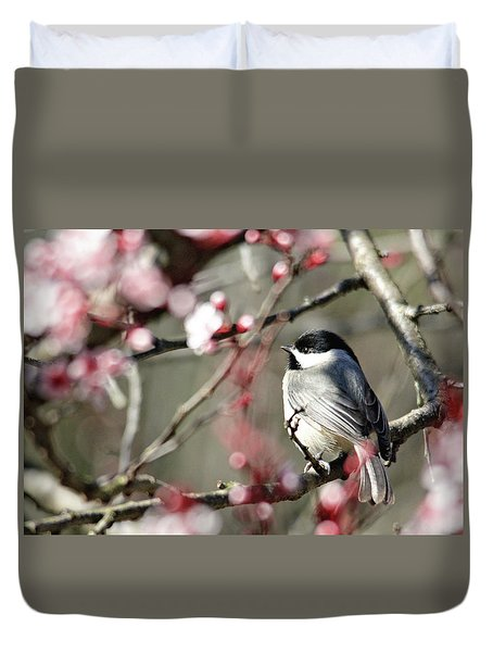 Chickadee Duvet Cover by Trina Ansel