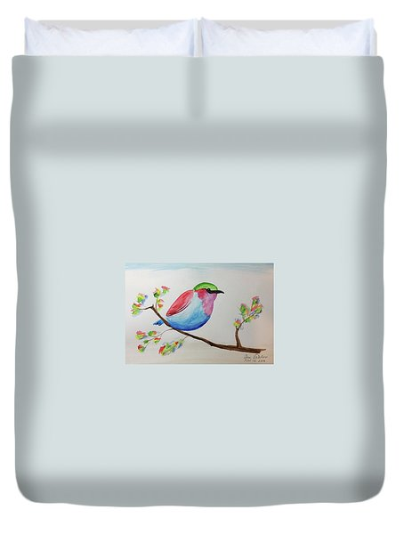Chickadee With Green Head On A Branch Duvet Cover