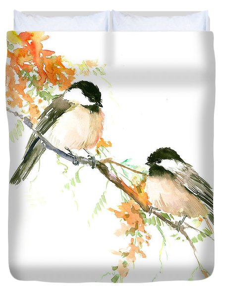 Chickadees And Orange Flowers Duvet Cover