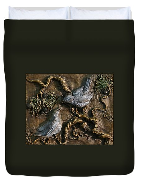 Duvet Cover featuring the relief Chickadees On Juniper With Berries  by Dawn Senior-Trask