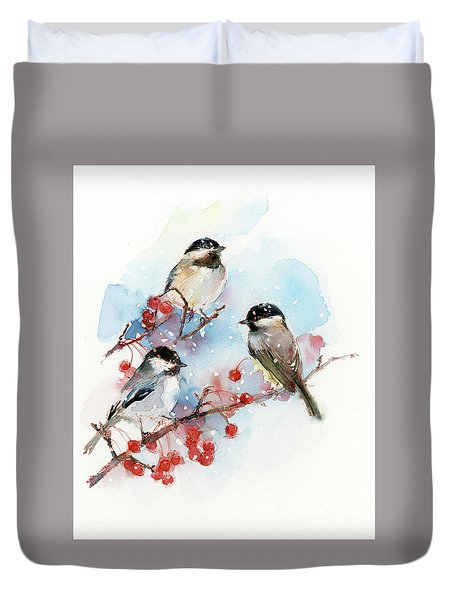 Chickadees With Berries Duvet Cover