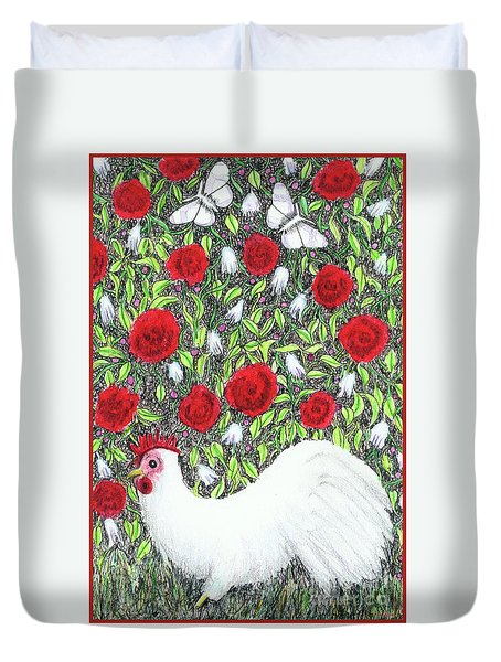 Chicken And Butterflies In The Flowers Duvet Cover