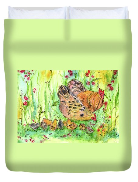 Duvet Cover featuring the painting Chicken Family by Cathie Richardson