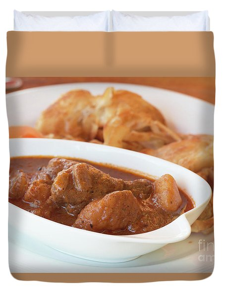 Duvet Cover featuring the photograph Chicken Massaman Curry by Atiketta Sangasaeng