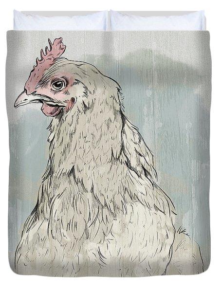 Chicken Portrait-farm Animals Duvet Cover