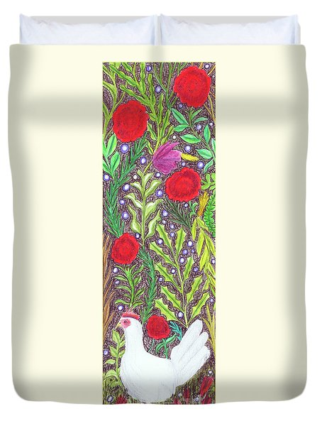 Chicken With An Attitude In Vegetation Duvet Cover