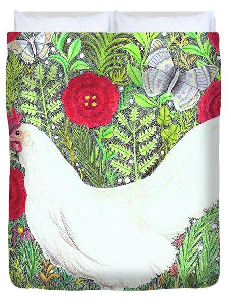 Chicken With Millefleurs And Butterflies  Duvet Cover