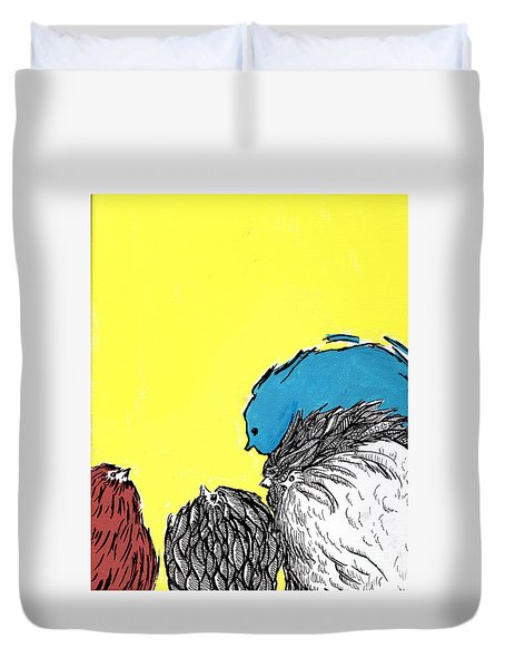 Duvet Cover featuring the painting Chickens One by Jason Tricktop Matthews