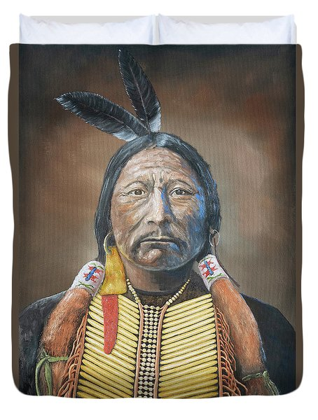 Chief Buckskin Charley Duvet Cover by Jerry McElroy