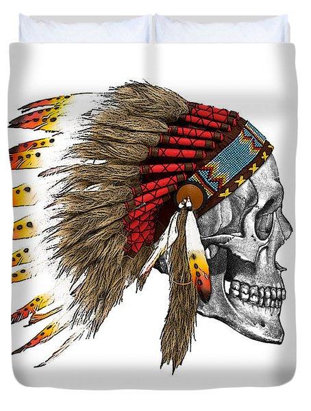 Chief Headdress On Human Skull Native American Art Duvet Cover