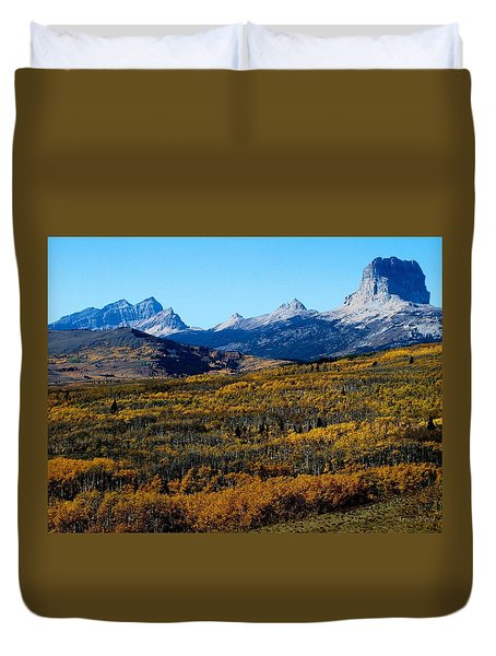 Chief Mountain In The Fall Duvet Cover