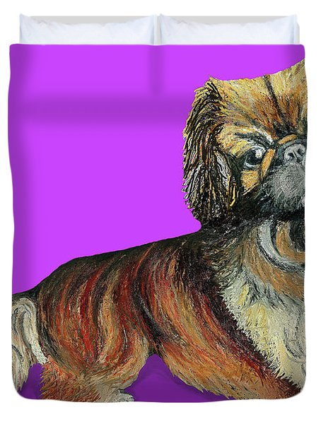 Duvet Cover featuring the pastel Chien Chien Pekingese by Ania M Milo