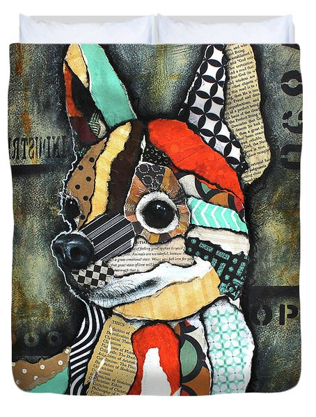 Duvet Cover featuring the mixed media Chihuahua 2 by Patricia Lintner