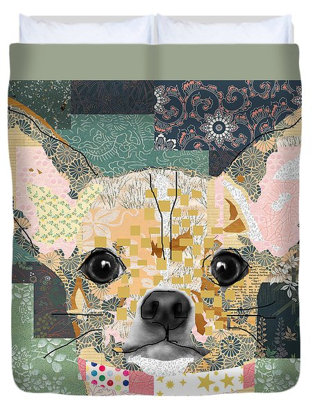Chihuahua Collage Duvet Cover by Claudia Schoen