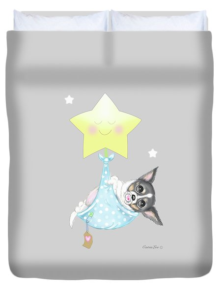 Duvet Cover featuring the painting Chihuahua Cookie Baby by Catia Lee