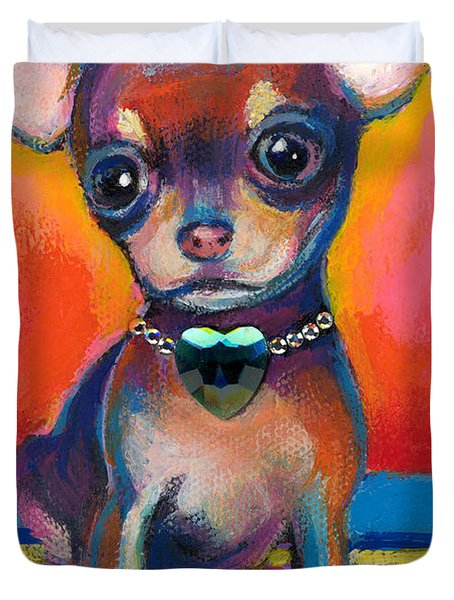 Chihuahua Dog Portrait Duvet Cover