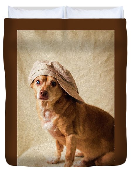 Chihuahua In A Newsboy Hat Duvet Cover