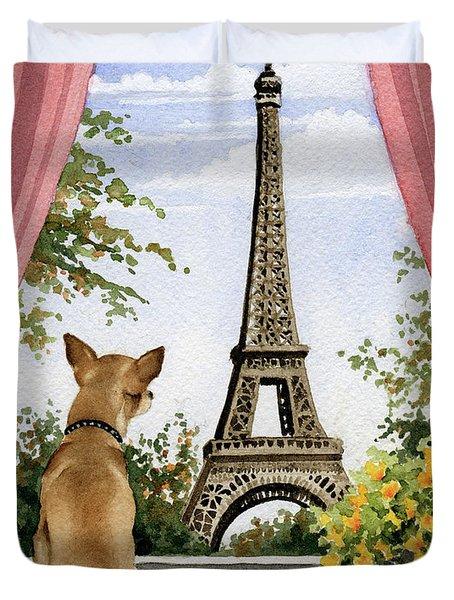 Chihuahua In Paris Duvet Cover